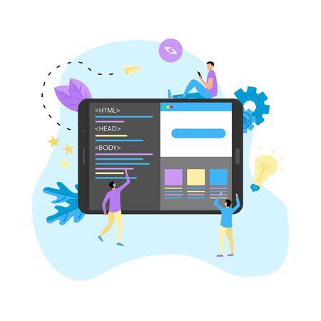 Creative webpage development and web design concept.