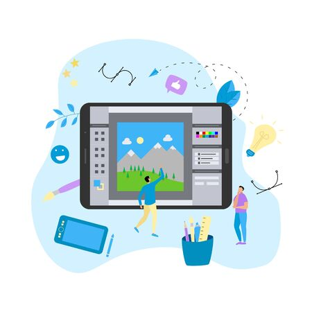 Flat vector graphic drawing concept with open illustration application with a creative project.