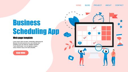 Web Template. Online time management assistant with marks, tasks and notes . Concept of time management. with business icons