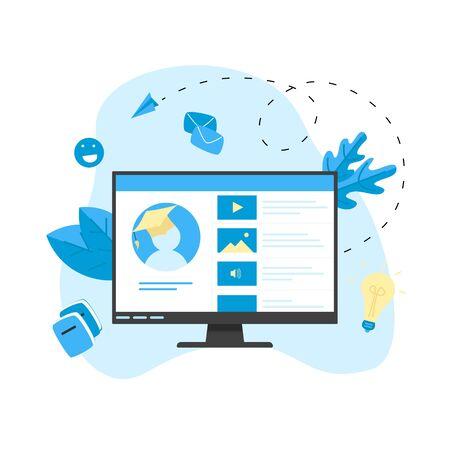 Online education app. E-learning concept..