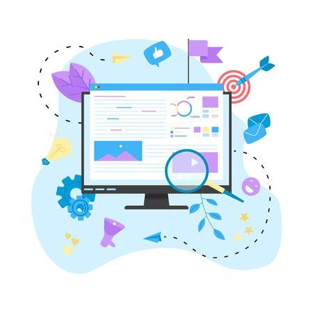 Concept for Digital marketing agency, digital media campaign flat vector illustration. Illustration