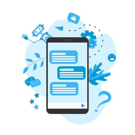 Chatbot business concept. Communication with chatbot. Artificial intelligence in customer support.