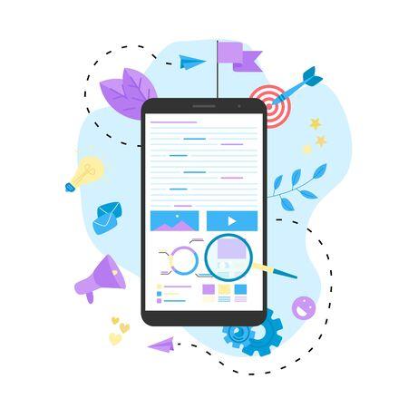 Concept for Digital marketing agency, digital media campaign flat vector illustration.  イラスト・ベクター素材