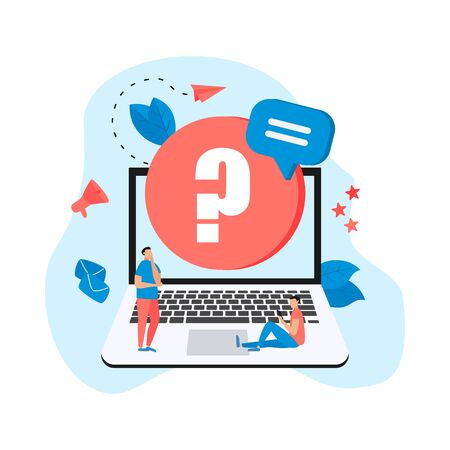 Frequently Asked Question flat modern design concept on laptop,