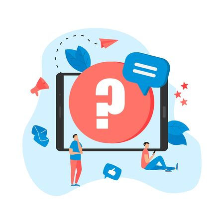 Frequently Asked Question flat modern design concept on tablet.