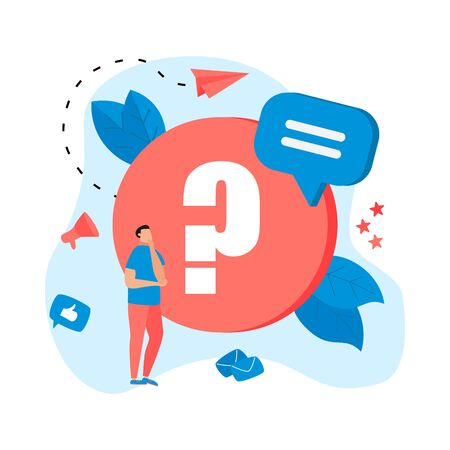 Frequently Asked Question flat modern design concept.