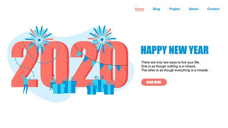 Happy New Year 2020 concept, greeting card with people character flat design. Webpage and banner template.