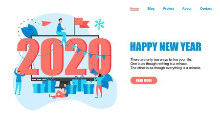 Happy New Year 2020 concept, greeting card with people character in computer monitor. Webpage and banner template..