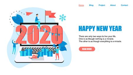 Happy New Year 2020 concept, greeting card with people character in laptop monitor. Webpage and banner template..