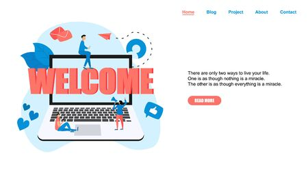 Greeting concept on laptop with word: Welcome and small people.