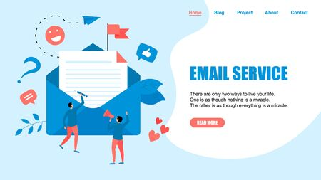 Vector illustration of email marketing & message concept with big letter in envelope with small digital agency managers.