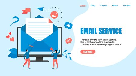 Vector illustration of email marketing & message concept with big letter on desktop with small digital agency managers.