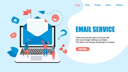 Vector illustration of email marketing & message concept with big letter on laptop with small digital agency managers.