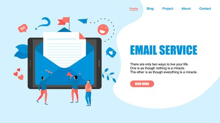 Vector illustration of email marketing & message concept with big letter on tablet with small digital agency managers.