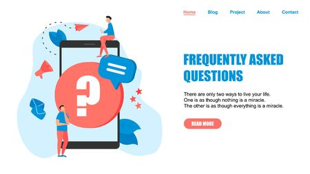 Frequently Asked Question flat modern design concept on webpage template. Ilustracja
