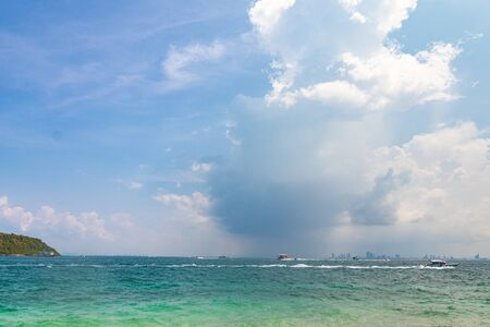 Big rain cloud over the sea. Koh Larn, Thailand.
