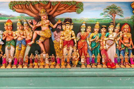 God and goddess statues and wall sculptures in Sri Maha Mariamman, Kuala Lumpur.