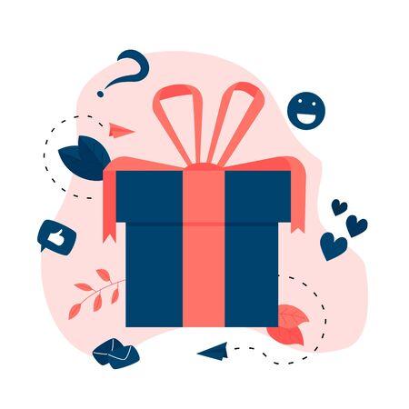 Gift box. Promotion of online store or shop loyalty program and bonus. Vector illustration for advertisement. Vector Illustration
