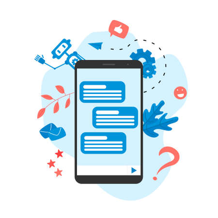 Web page Template. Chat bot business concept. Communication with chat bot. Artificial intelligence in customer support Stock Illustratie