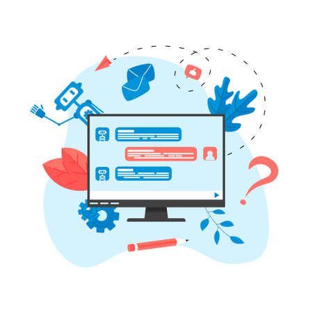 Web page Template. Chat-bot business concept. Communication with chat bot. Artificial intelligence in customer support Stock Illustratie