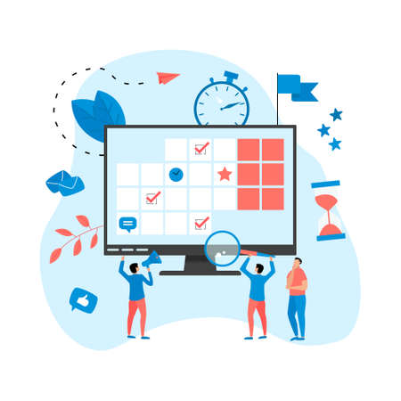 Web Template. Online time management assistant with marks, tasks and notes. Concept of time management. with business icons