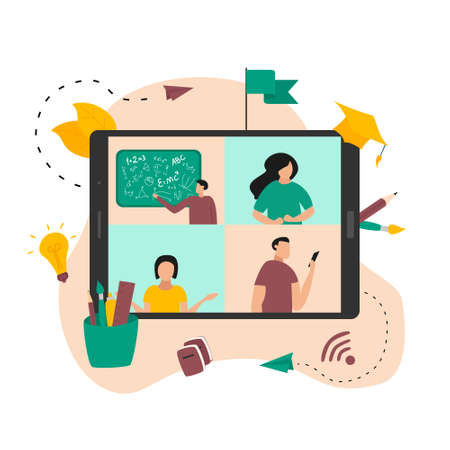 Illustration flat design concept of online education. Students learn in distant during a pandemic coronavirus.