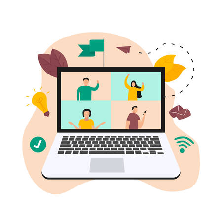 Illustration flat design concept of video conference. Online meeting work form home during a pandemic.