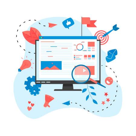 Concept for Digital marketing agency, digital media campaign flat illustration Stock Illustratie