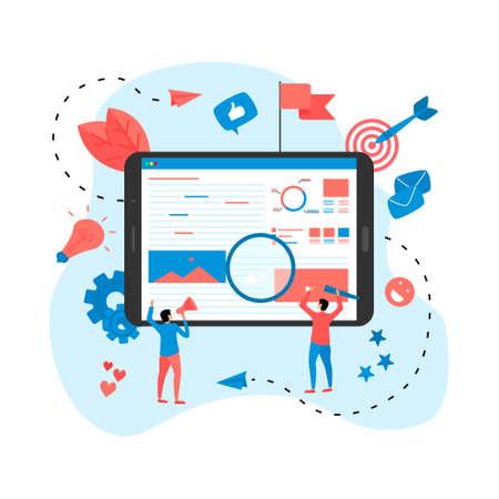 Concept for Digital marketing agency, digital media campaign flat vector illustration