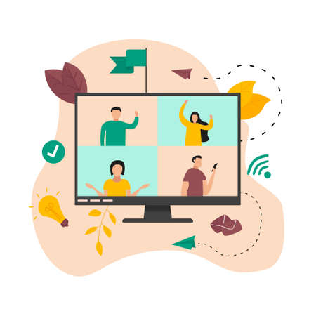 Illustration flat design concept of video conference. Online meeting work form home during a pandemic. Vector Illustration