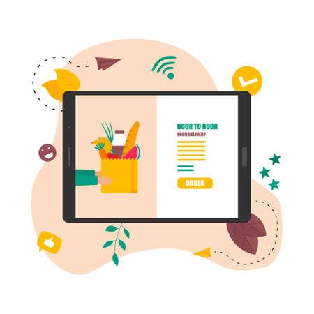 Illustration flat design concept of grocery online shop and delivery food door to door.