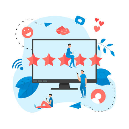 Five star customer online rating. Concept of feedback.