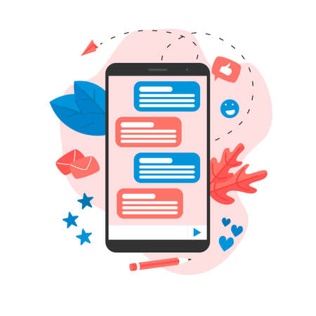 Vector illustration concept of communication in online chat.