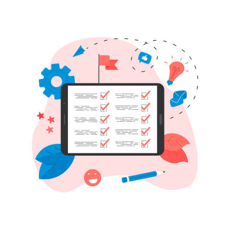 Online action plan concept with businessman. Business, time management and personal organizing concept Stock Illustratie