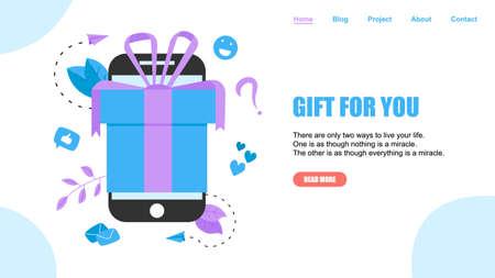Online gift box. Promotion of online store or shop loyalty program and bonus. Vector illustration for advertisement. ]