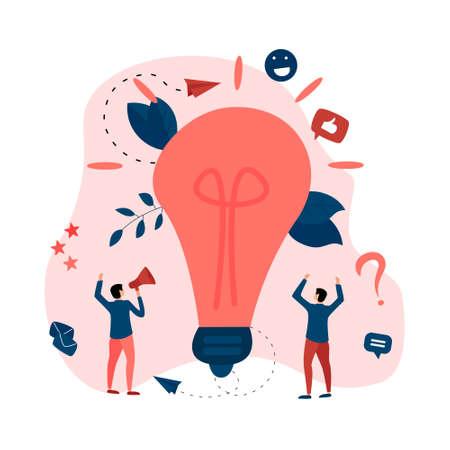 Creativity business idea concepts with big bulb. Vector illustration.