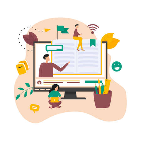 Online education, home schooling and e-learning concept. Online learning at home in social distancing COVID-19. Vector illlustration Banco de Imagens - 153171638