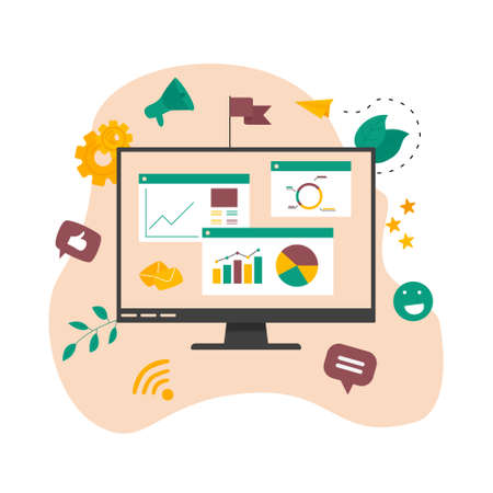 Concept of digital online marketing agency. Seo and data analysis with dashboard. Vector illustration Stock Illustratie