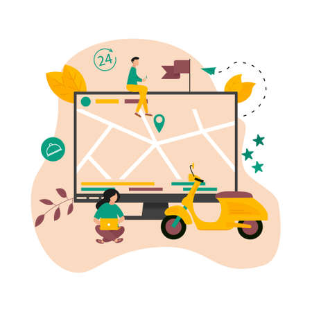 Fast delivery by scooter and device with map geo location. Quarantine safe online delivery concept. Vector illustration
