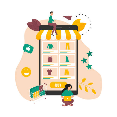 Online shopping during covid-19. Stay home, buy online and avoid spreading coronavirus. Online shopping concept. Vector illustration