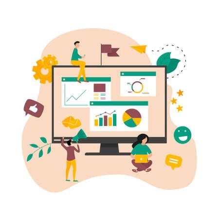 Concept of digital online marketing agency. Seo and data analysis with dashboard. Vector illustration Ilustração