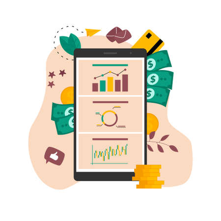 Online financial instrument on stock market. Investment analysis with graph and candlestick chart. Investment instrument concept Ilustração