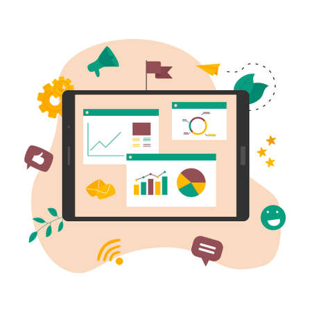 Concept of digital online marketing agency. Seo and data analysis with dashboard. Vector illustration Banco de Imagens - 152781504
