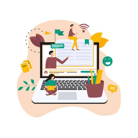 Online education, home schooling and e-learning concept. Online learning at home in social distancing COVID-19. Vector illlustration
