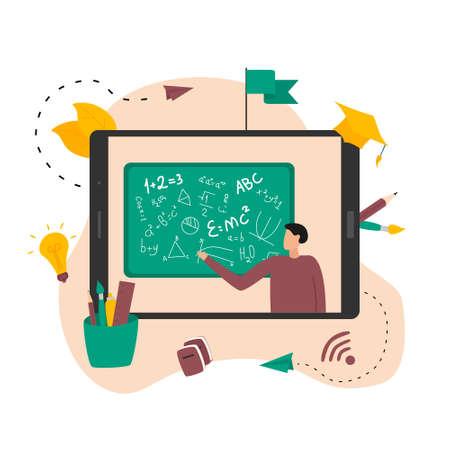Illustration flat design concept of online education. Students learn in distant during a pandemic coronavisrus. Vector illustration Banco de Imagens - 153171631