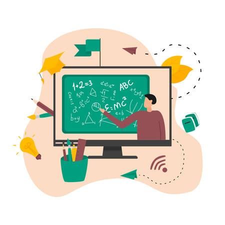 Illustration flat design concept of online education. Students learn in distant during a pandemic coronavisrus. Vector illustration Banco de Imagens - 153036304