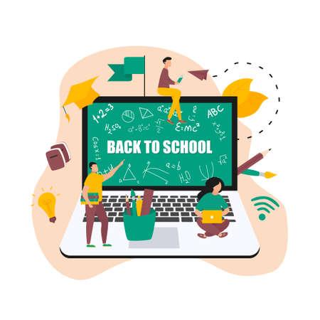 Illustration flat design concept of online education. Students learn in distant during a pandemic coronavisrus. Vector illustration Banco de Imagens - 153035951