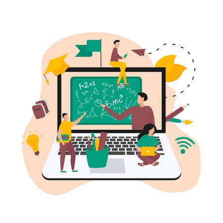 Illustration flat design concept of online education. Students learn in distant during a pandemic coronavisrus. Vector illustration Banco de Imagens - 153036350