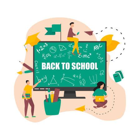 Illustration flat design concept of online education. Students learn in distant during a pandemic coronavisrus. Vector illustration Ilustração