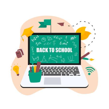 Illustration flat design concept of online education. Students learn in distant during a pandemic coronavisrus. Vector illustration Banco de Imagens - 153171633